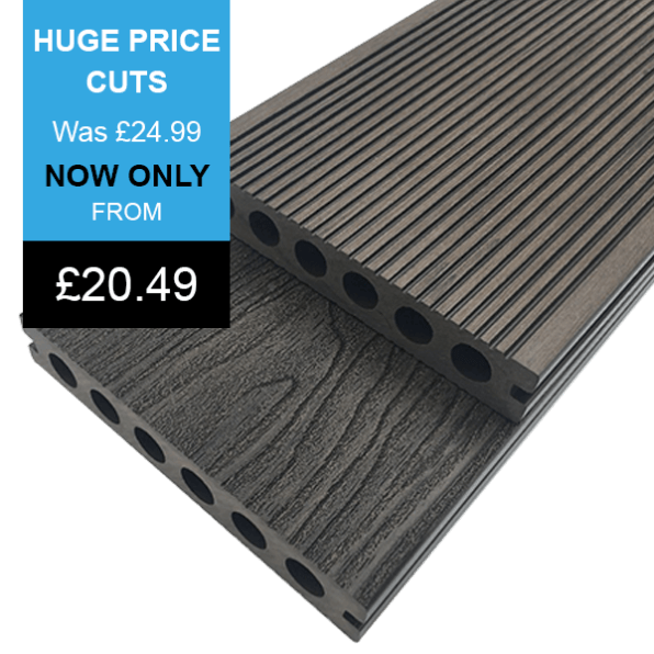 Chocolate Premier Range Composite Decking Banner With Price grooved side