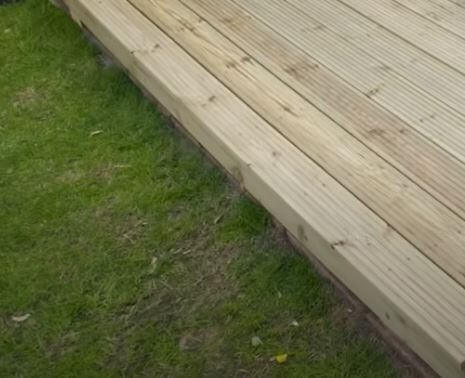 decking installed on grass